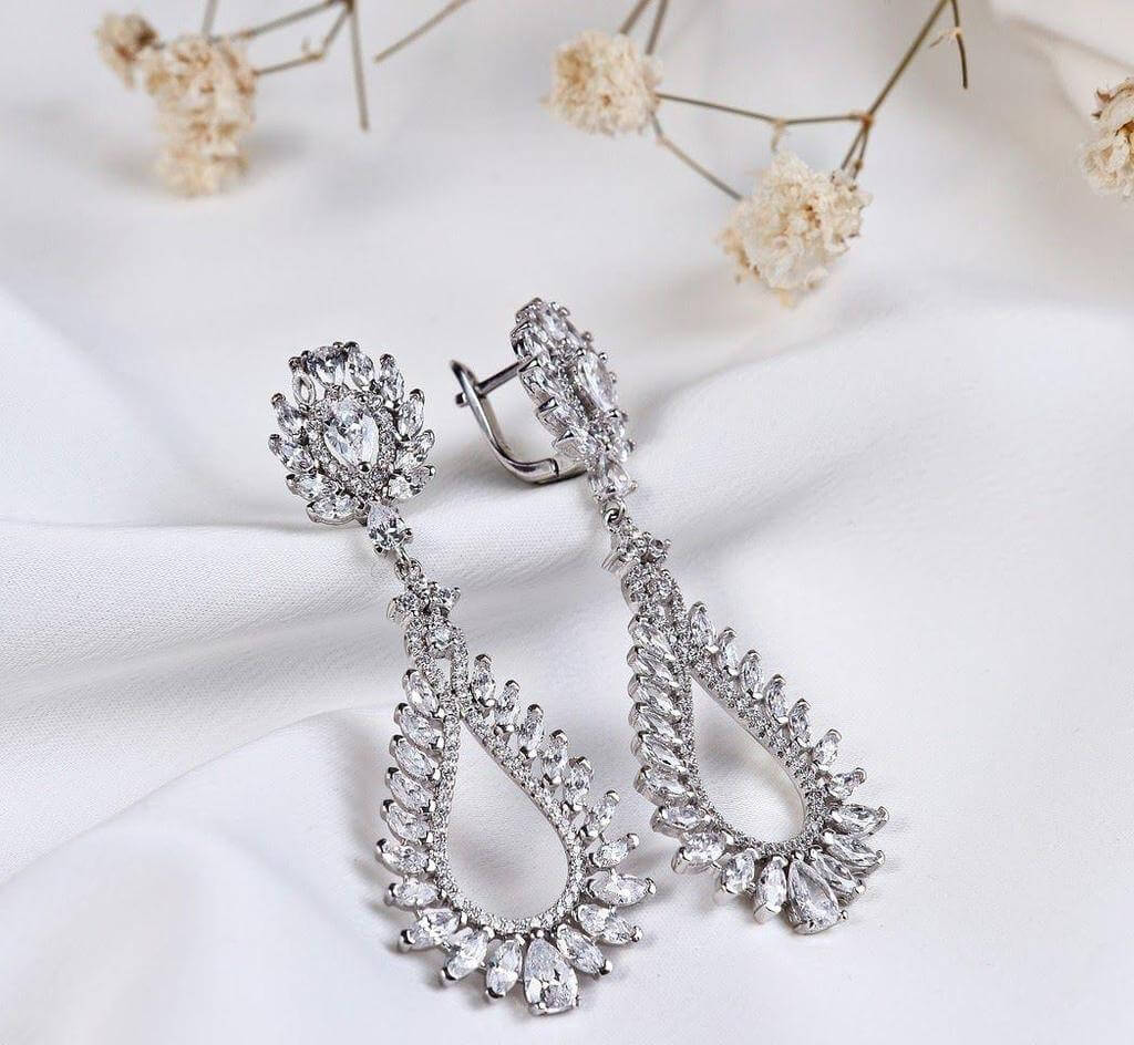 Diamond and silver danglers