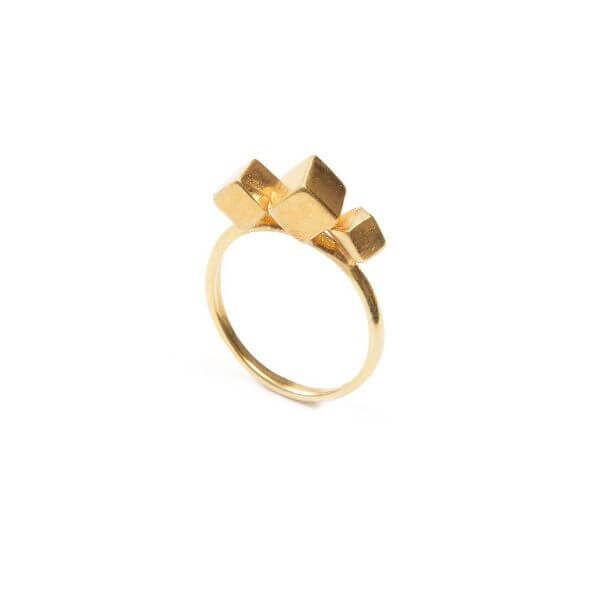 Ring - 3CUBE RING  18ct Gold Vermeil