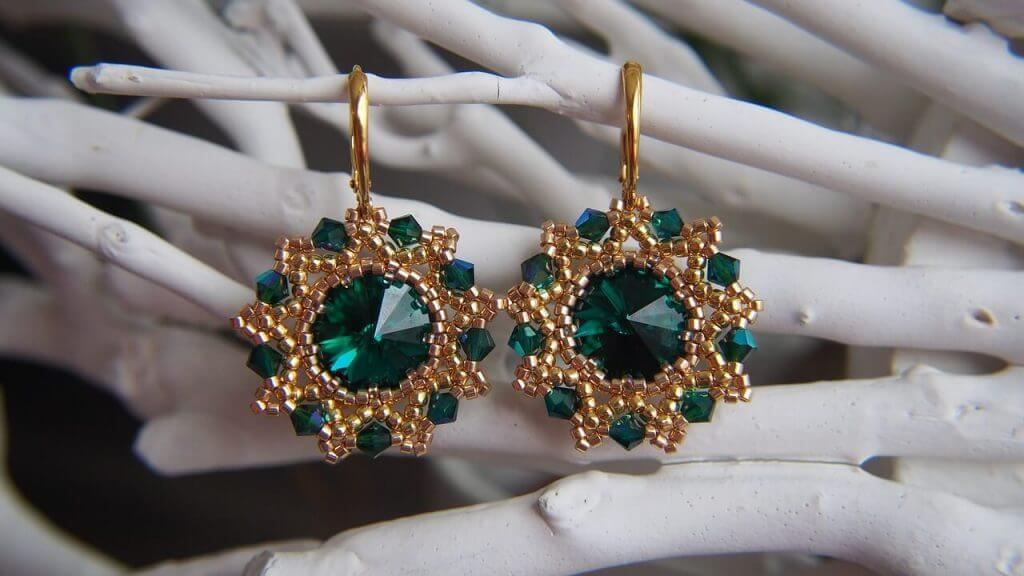 These Earring with Green Garnet Set in Gold Vermeil